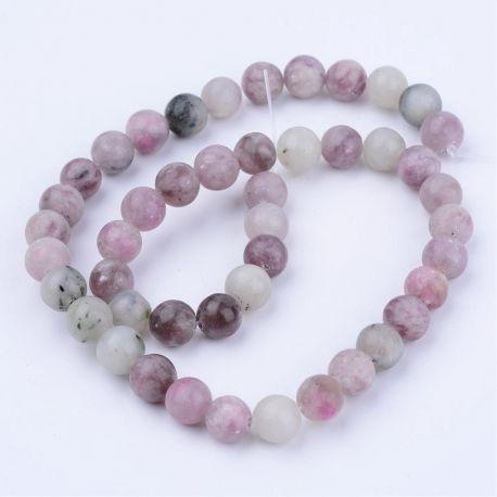 Natūralūs akmeniniai karoliukai, violetinės - žalsvos spalvos 6 mm., 1 gija