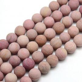 Rodochrozito karoliukai 10 mm., 1 gija