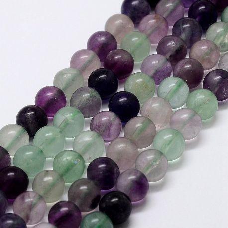 Natūralūs fluorito karoliukai, violetinės-žalios-baltos spalvos 8 mm., 1 gija