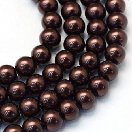 Stikliniai karoliukai perliukai akmenėliai apyrankėms, vėriniams, papuošalams verti ir gaminti. Tamsiai rudos spalvos, netaisykl