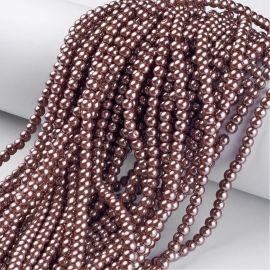 Stikliniai karoliukai perliukai 4 mm, 1 gija
