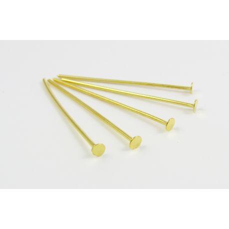 Smeigtukai skirti papuošalų gamybai aukso spalvos plokščia galvute 30 mm
