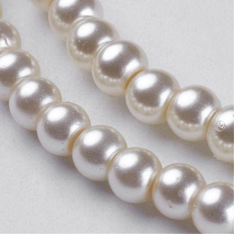 Stikliniai karoliukai perliukai, baltai gelsvos spalvos 4 mm, 1 gija