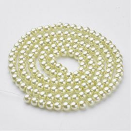 Stikliniai karoliukai perliukai 6 mm, 1 gija