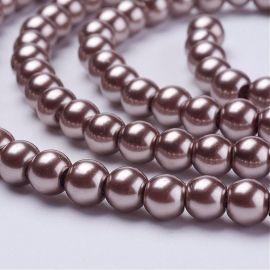 Stikliniai karoliukai perliukai akmenėliai apyrankėms, vėriniams, papuošalams verti ir gaminti. Rudos spalvos, apvalios formos,