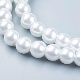 Stikliniai karoliukai perliukai akmenėliai apyrankėms, vėriniams, papuošalams verti ir gaminti. Baltos spalvos, apvalios formos,