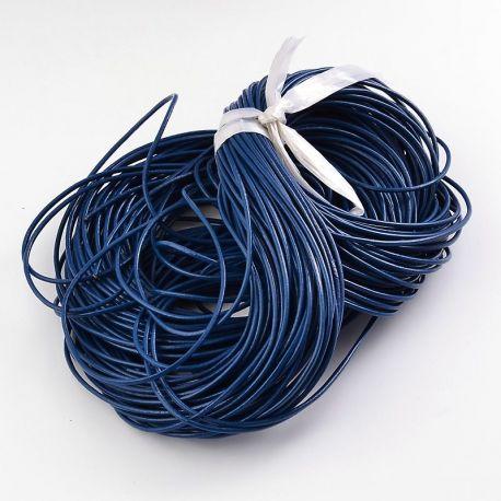 Natūralios odos virvutė apyrankėms, vėriniams, papuošalams verti ir gaminti. Mėlynos spalvos, apvali, kaina - 0,54 Eur už 1 met