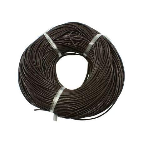 Natūralios odos virvutė apyrankėms, vėriniams, papuošalams verti ir gaminti. Tamsiai rudos spalvos, apvali, kaina - 0,54 Eur už