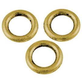 Dekoratyvinis uždaras žiedelis apyrankėms, vėriniams, papuošalams verti ir gaminti. Sendintos aukso spalvos, kaina - 0,4 Eur už