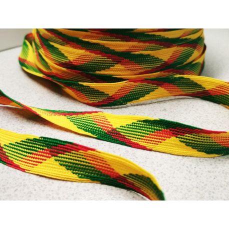 Lietuviška tautinė geltona-žalia-raudona juostelė, 14 mm pločio, kaina 0,25 Eur už 1 metrą. Juostelė matuojama.