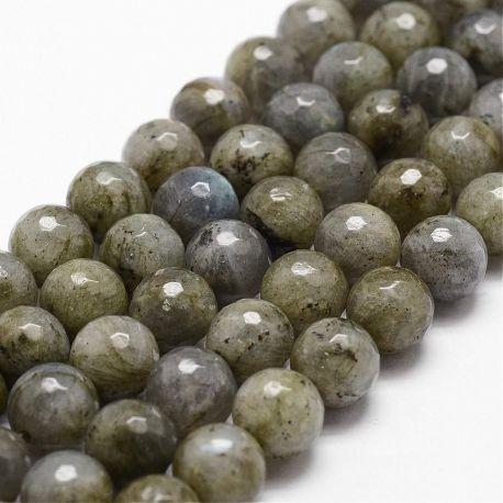 Natūralūs labradorito karoliukai - akmenėliai papuošalams, suvenyrams verti. Pilkos spalvos su mėlynu blizgesiu, apvalios formo