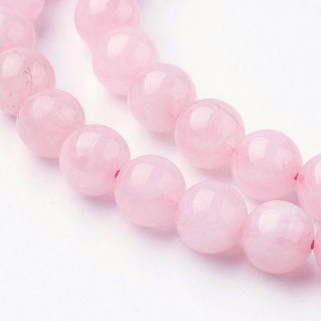 Natūralūs rožinio kvarco karoliukai - akmenėliai papuošalams, suvenyrams verti. Rausvos spalvos, apvalios formos, kaina - 7,01