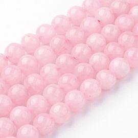 Natūralūs rožinio kvarco karoliukai 8 mm., 1 gija