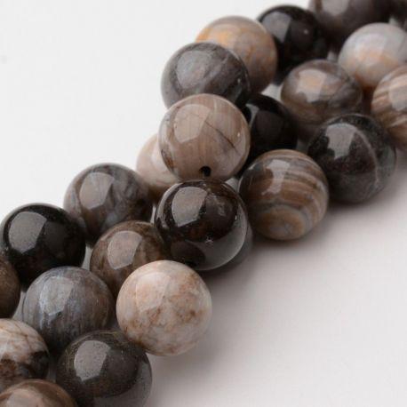 Natūralūs kvarco karoliukai - akmenėliai papuošalams, suvenyrams verti. Rudos-pilkos-gelsvos spalvos, apvalios formos, kaina -