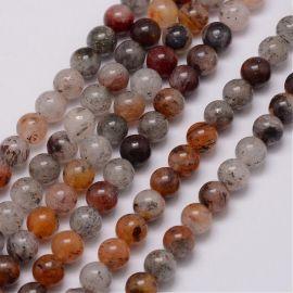 Natūralūs lodolito kvarco karoliukai - akmenėliai papuošalams, suvenyrams verti. Baltos-rudos-pilkos-oranžinės spalvos, apvalio