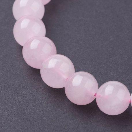 Natūralūs rožinio kvarco karoliukai, rausvos spalvos 8 mm, 1 gija