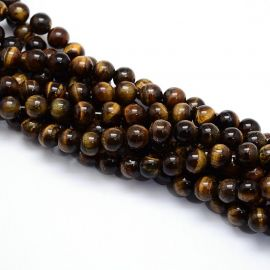 Natural Tiger eye beads 6 mm., 1 strand