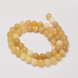 Natūralūs geltonojo opalo karoliukai - akmenėliai papuošalams, suvenyrams verti. Geltonos spalvos, apvalios formos, kaina - 14