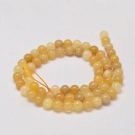 Natūralūs geltonojo opalo karoliukai - akmenėliai papuošalams, suvenyrams verti. Geltonos-baltos spalvos, apvalios formos, kai