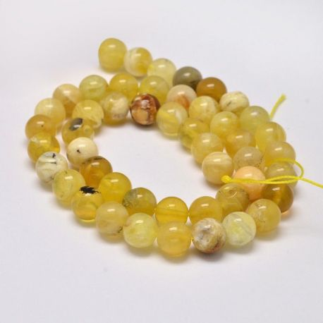 Natūralūs geltonojo opalo karoliukai, geltonos-baltos spalvos 10 mm, 1 gija