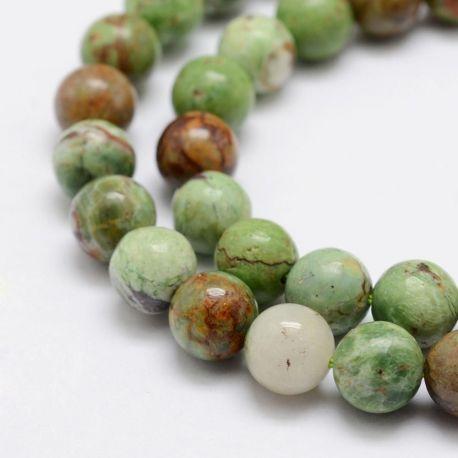 Natūralūs žaliojo opalo karoliukai - akmenėliai papuošalams, suvenyrams verti. Žalios-rudos spalvos, apvalios formos, kaina -