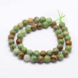Natūralūs žaliojo opalo karoliukai 8 mm., 1 gija