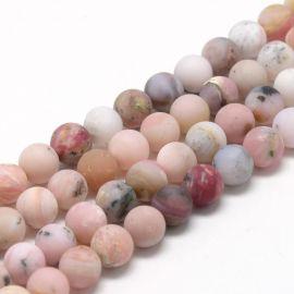 Natūralūs rausvojo opalo karoliukai 6 mm., 1 gija