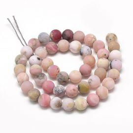 Natūralūs rausvojo opalo karoliukai 10 mm., 1 gija