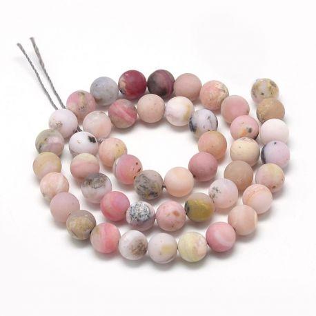 Natūralūs rausvojo opalo karoliukai - akmenėliai papuošalams, suvenyrams verti. Rausvos-baltos-gelsvos spalvos su juodos spalvo