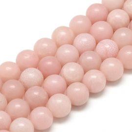 Natūralūs rožinio Opalo karoliukai 10 mm., 1 gija