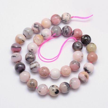 Natūralūs rausvojo opalo karoliukai, rausvos-baltos-gelsvos spalvos 12 mm, 1 gija