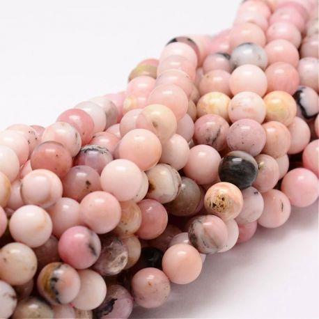 Natūralūs rausvojo opalo karoliukai, rausvos-baltos-gelsvos spalvos su juodos spalvos i spalvos 8 mm, 1 gija