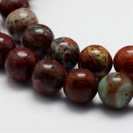 Natūralūs Afrikos opalo karoliukai, rudos-baltos-žalsvos spalvos 8 mm, 1 gija