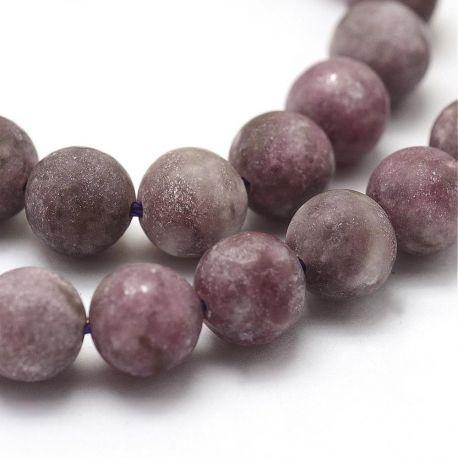 Natūralūs lepidolito ir micos akmeniniai karoliukai, purpurinės-alyvinės spalvos 8 mm, 1 gija.