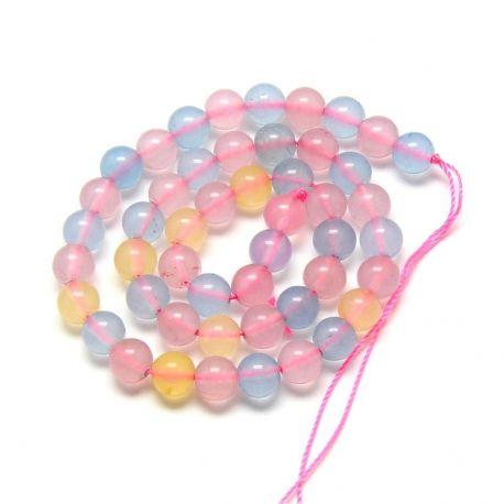Morganito imitacija, žydros-rožinės-gelsvos spalvos 6 mm, 1 gija