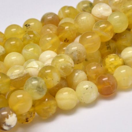 Natūralūs geltonojo opalo karoliukai, geltonos spalvos 8 mm, 1 gija