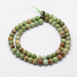 Natural green Opal beads 6 mm., 1 strand