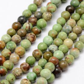 Natūralūs žaliojo opalo karoliukai 6 mm., 1 gija