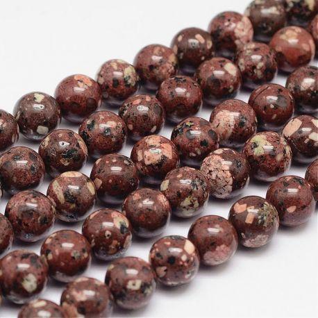 Natūralūs jaspio karoliukai, rudos-baltos-juodos spalvos 10 mm, 1 gija.
