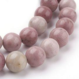 Natūralūs rodochrozito karoliukai - akmenėliai papuošalams, suvenyrams verti. Rausvos-gelsvos spalvos, apvalios formos, kaina