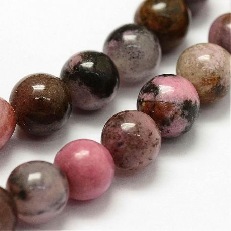 Natūralūs rhodonito karoliukai - akmenėliai papuošalams, suvenyrams verti. Rausvos-gelsvos-juodos spalvos, apvalios formos, ka