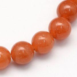 Natūralūs raudonojo avantiurino karoliukai 8 mm., 1 gija.