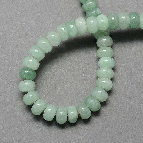 Natūralūs žaliojo avantiurino karoliukai - akmenėliai papuošalams, suvenyrams verti. Žalios spalvos, rondelės formos, kaina -