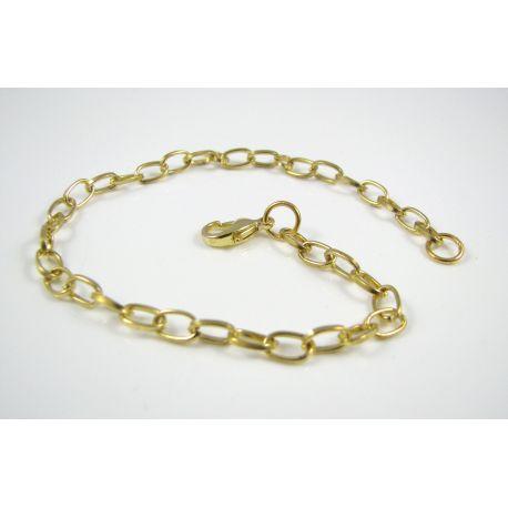 Grandinėlė - apyrankė aukso spalvos, su karabino užsegimu, rankdarbiams, papuošalams 7x4,5 mm., 20 cm ilgio