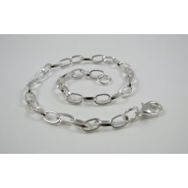Grandinėlė - apyrankė, sidabro spalvos, 7x4,5 mm 20 cm ilgio