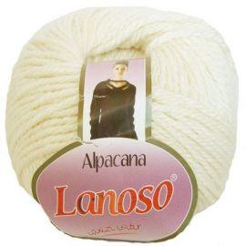 Siūlai mezgimui. Alpacana Lanoso 3002 siūlai, sudėtis 35% Merino vilna, 25 % Alpacos vilna, 40 % Akrilas, baltos spalvos, 500 g.