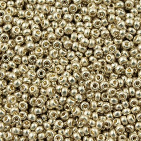 MIYUKI biseris Japoniška kokybė. Stikliniai karoliukai vėrimui Sidabro spalvos, apvalios formos (Rocailles), kaina - 1,1 Eur už