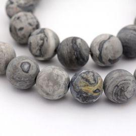 Natūralūs Jaspio karoliukai Akmenėliai skirti vėrimui Pilkos spalvos, apvalios formos, kaina - 4,01 Eur už 1 gija