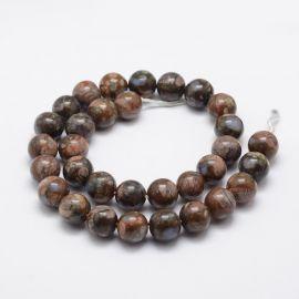Natūralūs Afrikos Opalo karoliukai Akmenėliai skirti vėrimui Melsvos-pilkos-rudos spalvos, apvalios formos, kaina - 11 Eur už 1